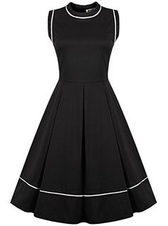 ReoRia Women's Classy Vintage Sleeveless Casual Pleated Little Black Dress