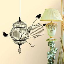 Art vinyl zwarte birdcage vogel thuis sticker verwijderbare muursticker home decor muurschildering(China (Mainland))