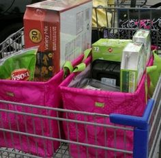Two 31 Large Utility Totes fit perfectly in a grocery cart! One on each arm when you carry them in!