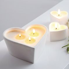 Unscented Large Ceramic Heart Candle - small heart tealight candles | The White Company