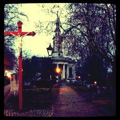 Saw a Sakura tree bloom next a grave at deptford's St. Paul church.