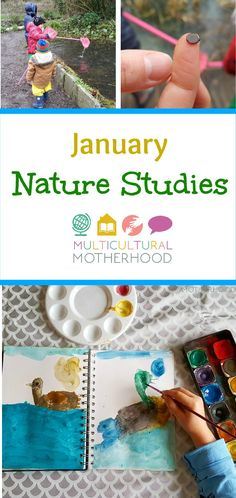 "Read about our January nature studies. We use the ""Exploring Nature With Children curriculum"". Lots of fun activities for learning about the winter sky, winter trees, the moon and a winter pond study."
