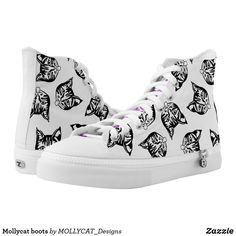 Shop Mollycat boots High-Top sneakers created by MOLLYCAT_Designs. Unique Boots, Cat Shoes, Converse Style, Black And White Style, Designer Boots, Custom Sneakers, High Tops, High Top Sneakers, Street Wear