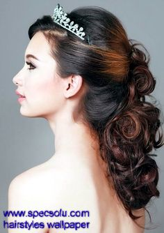Very Elegant Tiaras Hair Accesories with Textured Brown Loose Curl Hair on Wedding Hairstyles for long Hair Half Up
