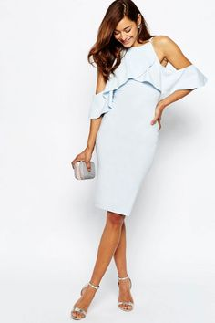 Buy ASOS PETITE High Neck Cold Shoulder Midi Dress at ASOS. With free delivery and return options (Ts&Cs apply), online shopping has never been so easy. Get the latest trends with ASOS now. Derby Attire, Fashion Forecasting, Asos Petite, Blue Midi Dress, Dressed To Kill, Fashion News, Fashion Online, Dress Me Up, Occasion Dresses