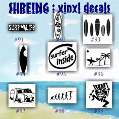 SURFING vinyl decals - 91-99 - palm tree sticker - tropical stickers - surfboard decals - car window stickers