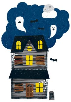 Halloween Haunted House illustration by Lan Truong for REAL SIMPLE.