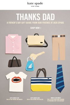 Email newsletter for Kate Spade NY, father's day gift ideas