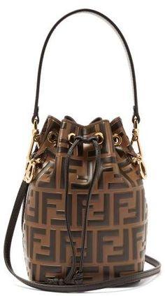 8d0fdcab4297 Fendi Mon Tresor Mini Logo Print Leather Bucket Bag - Womens - Brown Multi  Arm Candies
