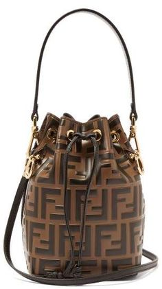 3ade20192139 Fendi Mon Tresor Mini Logo Print Leather Bucket Bag - Womens - Brown Multi  Arm Candies