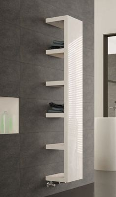 The MHS Quadra reinvents everything we knew about designer towel radiators. Tremendously beautiful and wonderfully handy, the Quadra is truly exceptional. Bathroom Layout, Modern Bathroom Design, Bathroom Interior, Small Bathroom, Bathroom Canvas, Bathroom Bath, Bathroom Towel Radiators, Radiator Shelf, Vertical Radiators