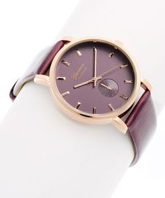 Another great find on #zulily! Purple & Rose Gold Accent Faux Chronograph Watch #zulilyfinds