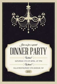 Classy Chandelier - Free Printable Dinner Party Invitation Template   Greetings Island