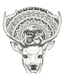 Maybe this is how I could cover the ugly tattoo. Not a deer. around a mandala on the back of a turtle! Piercing Tattoo, Piercings, Mehndi, Deer Tattoo, Maori Art, Buddhism, Tattoo Inspiration, Zentangle, Cool Tattoos