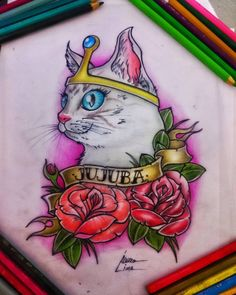 Desenho dedicado a minha gatinha jujuba ❤  #Artedoalvaro #desenho #draw #instaart #instaartist #tattoodesign #tattoo_club #adventuretime #drawing #pets #cats #lovecats #gatos #petshop #adote #fabercastell #collors #cores #riodejaneiro #errejota #RJ