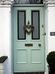 Hardwood,Victorian four panel entrance door with sandblasted double glazed vision panels