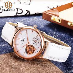 US $87.44 - STARKING Luxury Brand Ladies Automatic Mechanical Watch Gold Watches Women Leather Bracelet Dress Wristwatch AL0213 roleingly