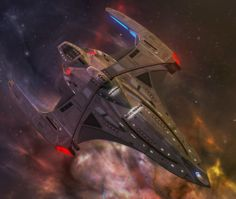 An advanced strike vessel which incorporates the latest in Federation technology, the Courageous Class emphasizes its offensive capability among all others. This ensures optimum performance in combat. First launched in the late 2380's, the class is expected to be the premier escort vessel.