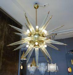 Brass Sputnik Chandelier with Murano Glass Spikes 7