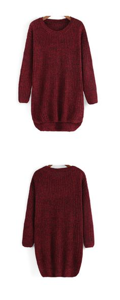 This winter ,i love oversized sweater so much! Cable knit can not be more beautiful and warm ! Round Neck Dip Hem Knit Sweater