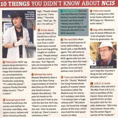 10 things you didn't know about NCIS, I knew a couple of these but I didn't know a few!!!! This is awesome!!!