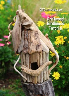 Simple tutorial will show you how to make a whimsical driftwood birdhouse for indoor or outdoor use. Add charm and character to your garden with a whimsical driftwood birdhouse you make yourself. Driftwood Projects, Driftwood Art, Driftwood Ideas, Bird House Kits, Garden Theme, Beach Crafts, Diy Wedding Decorations, Kit Homes, Fairy Houses
