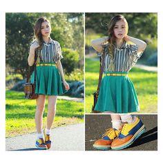 Spearmint skirt ❤ liked on Polyvore