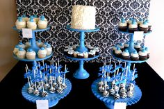 make own cake plates with old trays and candle sticks (dollar store) paint our color scheme