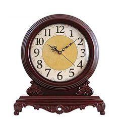 Countertop Table Clock Neoclassic Clock Large Solid Wood Creative European Style Retro Mute Clock Ornaments Suitable for Living Room Bedroom Offices Ect, QiXian Bedroom Office, Living Room Bedroom, Bedroom Decor, European Style, European Fashion, Retro 4, Resin Material, Desk Clock, Large Clock