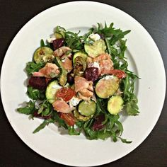 Seared Salmon Salad with Garden Vegetables. Healthy. Easy. Nutritious.