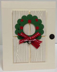 Christmas Door with Wreath Stampin Up Christmas Kit 5 cards Chrismas Cards, Christmas Card Crafts, Stampin Up Christmas, Christmas Cards To Make, Christmas Greeting Cards, Greeting Cards Handmade, Handmade Christmas, Holiday Cards, Christmas Door