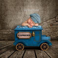Newborn Digital backdrop digital background for boy blue