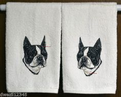 REALISTIC BOSTON TERRIER DOG - 2 EMBROIDERED HAND TOWELS by Susan