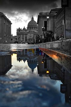 sunset     street     reflection     clouds     europe     italy     architecture     rome     square     colors     history     vatican     walls     puddle     roma     painter     san pietro     reflejo     street photography     vaticano     cupola     saint peter's square     spqr     piazza san pietro     Siciliamia     Caputmundi