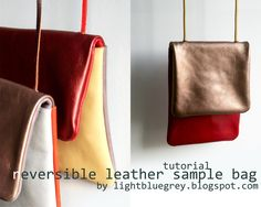 tutorial for a reversible leather bag...very easy to do (not too sure about her final seam using tape though)...i'll have to do this one!