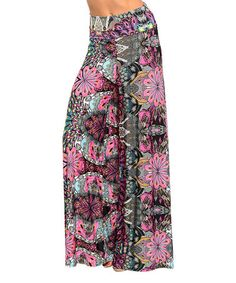 Look at this #zulilyfind! Black & Fucshia Floral Palazzo Pants #zulilyfinds