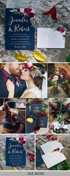 navy blue, marsala and gold fall wedding color and invitation inspiration