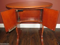 RARE-ORIGINAL-SINGER-68-FEATHERWEIGHT-CABINET-W-LIFT-221-SEWING-MACHINE-TABLE