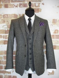 3 Piece Grey Tweed Wedding Suit