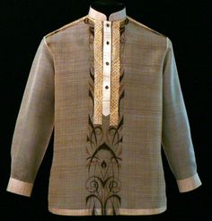 Brown Barong Tagalog #3015 Get a comfortable yet modern look with our hand-painted design with a matching chinese collar and chinese buttoned down Barong tagalog. No matter how you style it, you'll always look pulled together. Its modern design will make a perfect look. #BarongsRUs #Barong