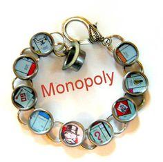 Monopoly Vintage Typewriter Key Bracelet. $45.00, via Etsy. #typewriterkeyjewelry #vintagetypewriterbracelets Key Jewelry, Jewelry Crafts, Jewelery, Game Boards, Board Games, Monopoly Crafts, Recycled Jewelry, Handmade Jewelry, Monopoly Pieces
