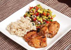 Pineapple-Glazed Chicken with Jalapeno Salsa