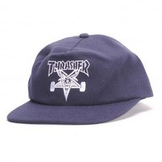 2e58a2aca58 Thrasher Skate Goat Wool Blend Snapback (Navy) Hat. True Skateboards