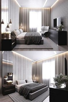 stylish and genius master bedroom design ideas 34 - Neue Wohnung - Schlafzimmer Modern Luxury Bedroom, Modern Minimalist Bedroom, Master Bedroom Interior, Luxury Bedroom Design, Modern Master Bedroom, Home Room Design, Master Bedroom Design, Contemporary Bedroom, Luxurious Bedrooms