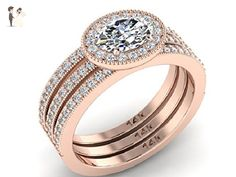 Engagement Diamond Rings, Wedding Rings set, Natural diamond rings, High Quality diamond rings, set of 3 ring, 14k Rose gold Engagement rings. - Wedding and engagement rings (*Amazon Partner-Link)