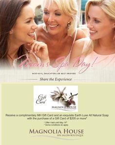 With Mother's Day right around the corner, there is no better way to show her your love. Celebrate with a Gift Card from Magnolia House! Magnolia House, Salons, Conditioner, Corner, Celebrities, Day, Cards, Gifts, Lounges