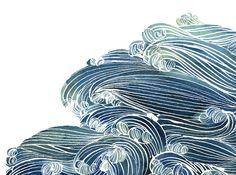 "huariqueje: "" Ocean waves in Blue and Green - Yao Cheng https://instagram.com/yaochengdesign/ """