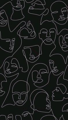 A bohemian style print. White line art on black background.