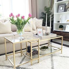 VITTSJÖ nesting-style coffee table in gold