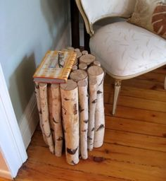 Love this little birch log table.  Now I can cut down my dead tree and not feel bad.